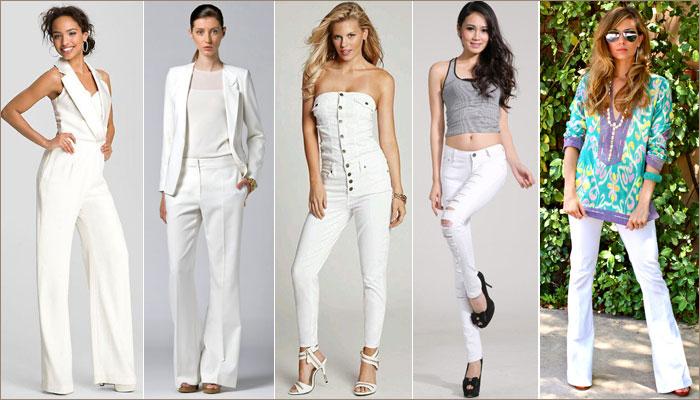 Кружевные трусики под белыми штанами