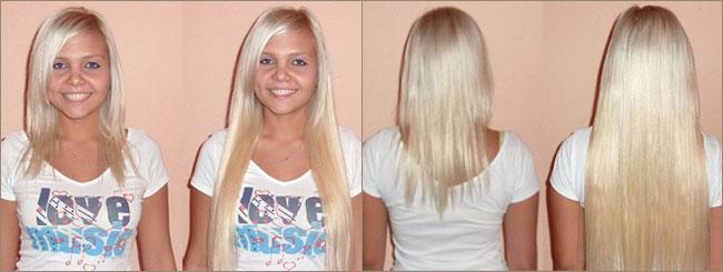 наращивание волос до и после фото
