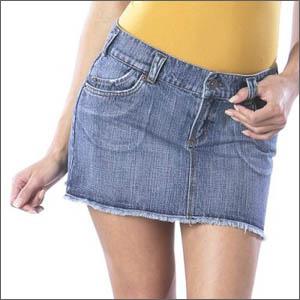 Джинсовая одежда юбки