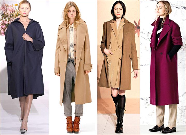 Силуэт длина модного пальто осень 2012