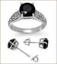 Гарнитур из серебра с чёрным бриллиантом