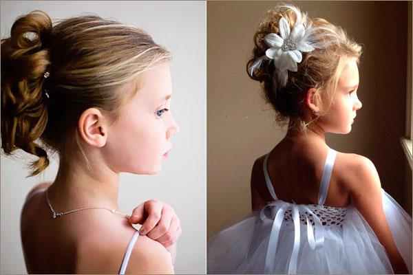 Причёска для девочки пучок